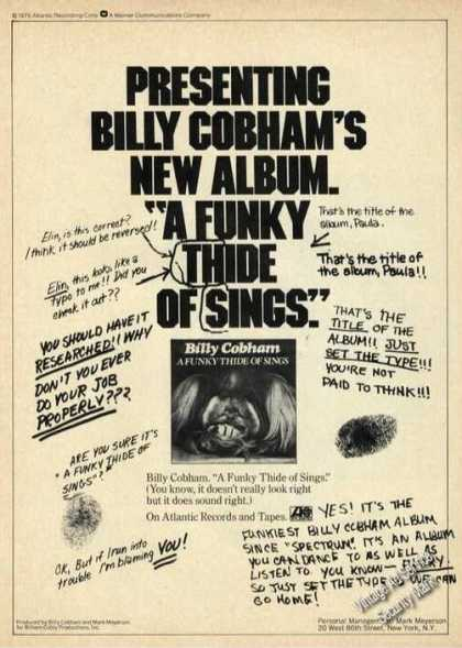 Billy Cobham Funky Thide of Sings Album Promo (1976)