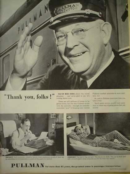 Pullman Motor Car Railroad Thank you folks (1945)