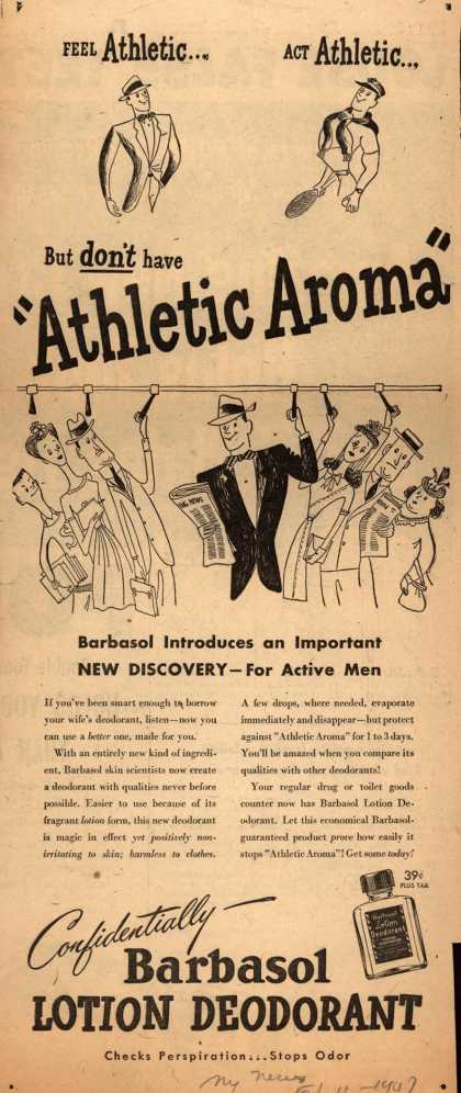 "Barbasol – Feel Athletic...Act Athletic...But don't have ""Athletic Aroma"" (1947)"