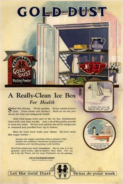 N. K. Fairbank Co.'s Gold Dust Washing Powder – Gold Dust – A really clean ice box (1923)