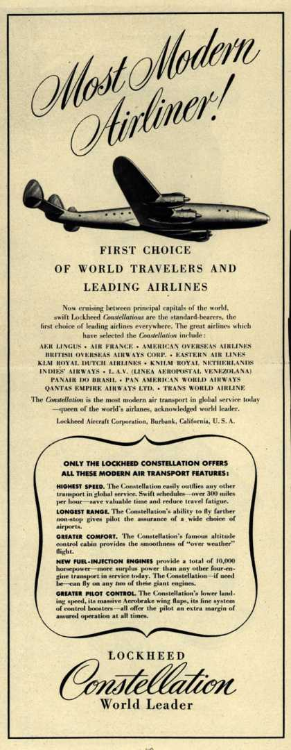 Lockheed Aircraft Corporation's Constellation – Most Modern Airliner (1947)