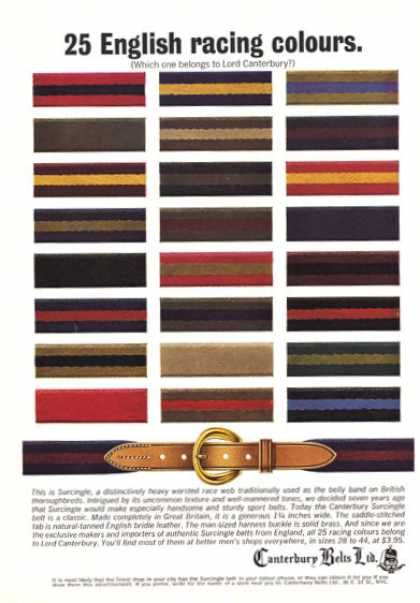 Canterbury Belts Fashion Worsted Race Web (1964)