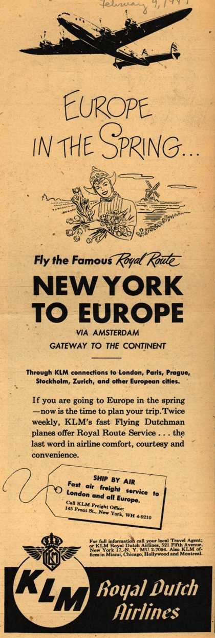 KLM Royal Dutch Airline's New York to Europe – Europe In The Spring... (1947)