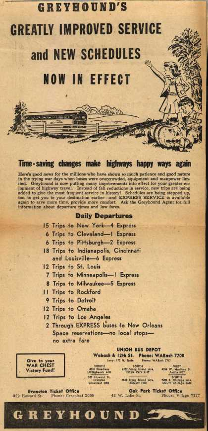 Greyhound's Bus Schedules – Greyhound's Greatly Improved Service and New Schedules Now In Effect (1945)
