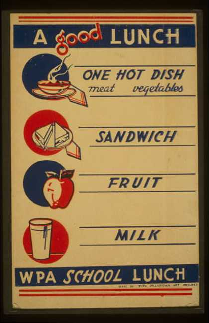 A good lunch – one hot dish, meat, vegetables – sandwich – fruit – milk – WPA school lunch. (1936)