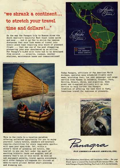 "Pan American Grace Airway's South America – ""we shrank a continent... to stretch your travel time and dollars!..."" (1946)"