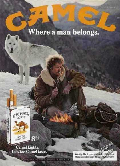 Camel Cigarettes Man On Mountain With Wolf (1983)