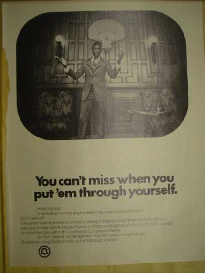 Bell Telephone Corp. Bill Russell. You can't miss when you put 'em through yourself (1974)