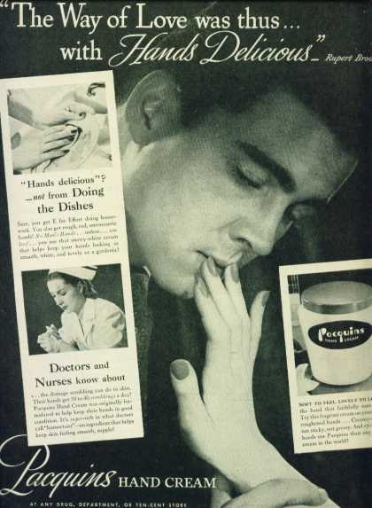 Pacquins Hand Cream Man Kissing Fingers C (1950)