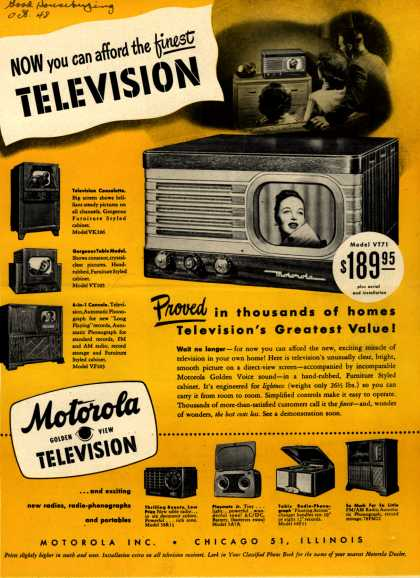Motorola's various – Now you can afford the finest Television (1948)