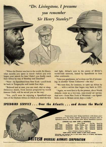 "British Overseas Airways Corporation – ""Dr. Livingstone, I Presume You Remember Sir Henry Stanley?"" (1948)"