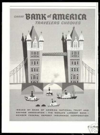Tower Bridge London Tugboats Bank of America (1953)