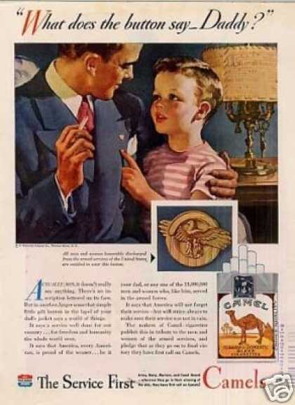 "Camel Cigarettes Ad ""What Does the Button Say... (1945)"