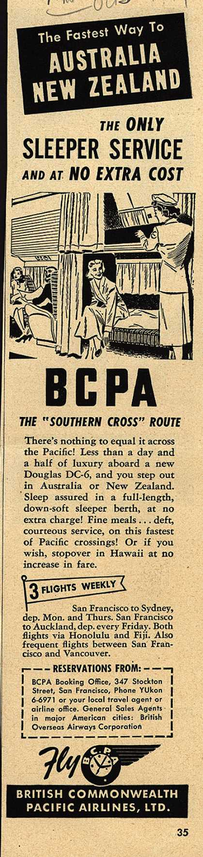 British Commonwealth Pacific Airlines, Limited's Australia, New Zealand – The Fastest Way to Australia, New Zealand The Only Sleeper Service and at No Extra Cost (1949)