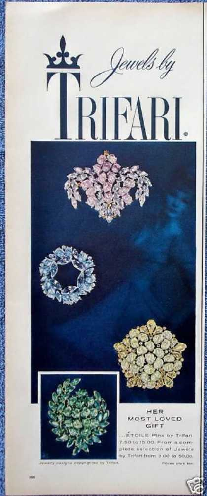 Trifari Jewels Etoile Pins Green Pink Yellow (1959)