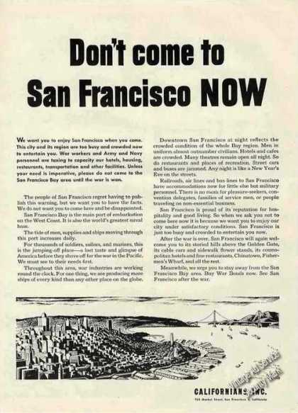 Don't Come To San Francisco Now Too Busy Wwii (1944)