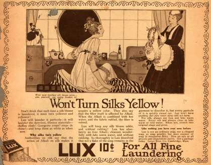 Lever Bros.'s Lux (laundry flakes) – Won't Turn Silks Yellow (1916)