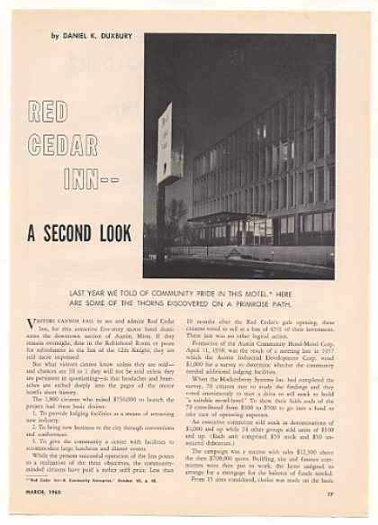 Red Cedar Inn Hotel Austin Minnesota 5-Pg Article (1963)