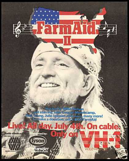 Willie Nelson Photo Farm Aid II Vh-1 (1986)