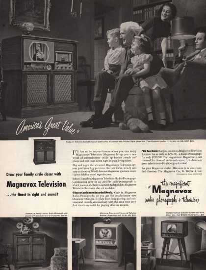 Magnavox Company's Radio-Phonograph + Television – Draw your family circle closer with Magnavox Television (1949)