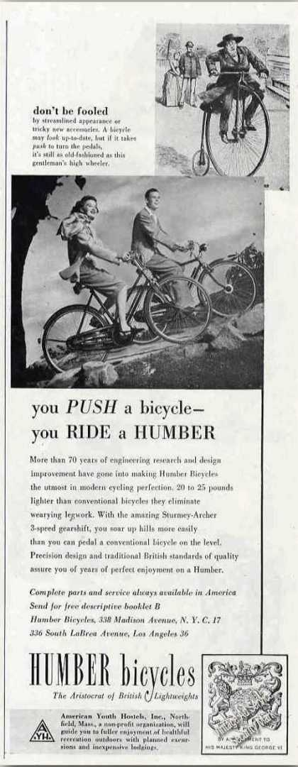 "Humber Bicycles ""You Ride a Humber"" (1948)"