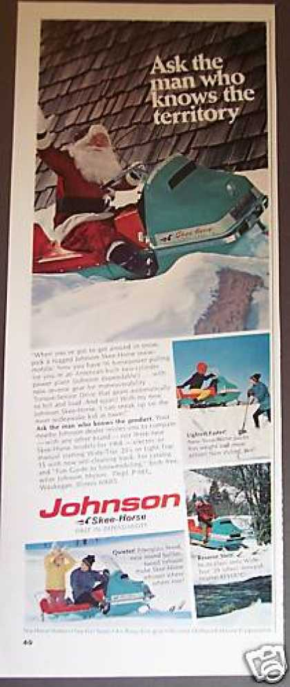 Johnson Ski-horse Santa On Snowmobile Photo (1967)
