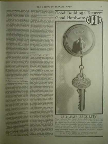 P & F Corbin Locks Supreme security 1/2 page (1928)