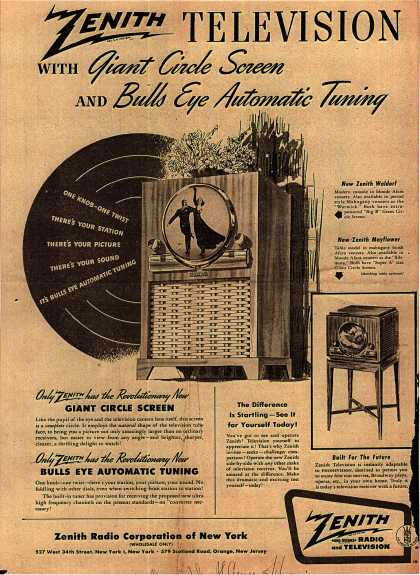 Zenith Radio Corporation's Giant Circle Screen Television – Zenith Television with Giant Circle Screen (1949)