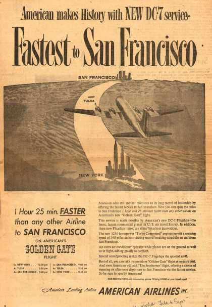 American Airline's Service to San Francisco – America Makes History with New Dc-7 Service – Fastest to San Francisco (1954)