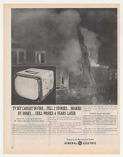 GE General Electric Portable TV Dedham MA Fire (1962)