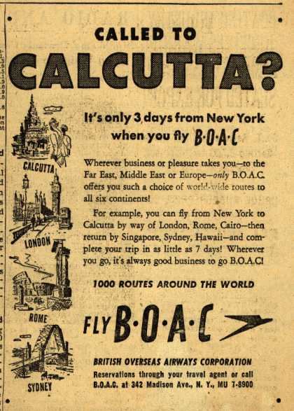 British Overseas Airways Corporation's Long Distance Trips – CALLED TO CALCUTTA? (1952)