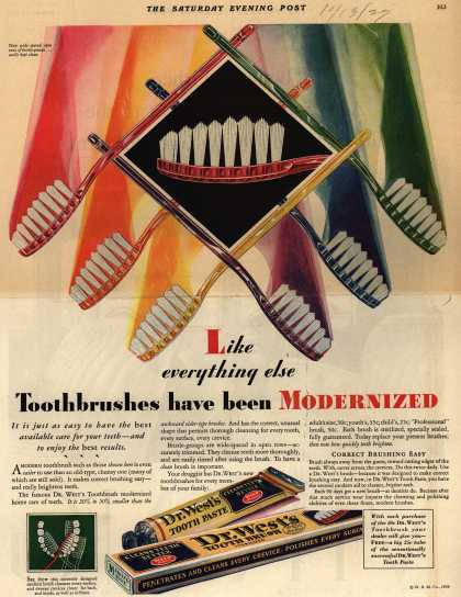 Western Company's Dr. West's Tooth Brush – Like everything else Toothbrushes have been Modernized (1929)