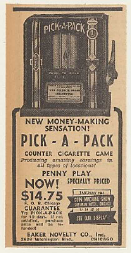 Baker Pick-A-Pack Counter Cigarette Game (1940)