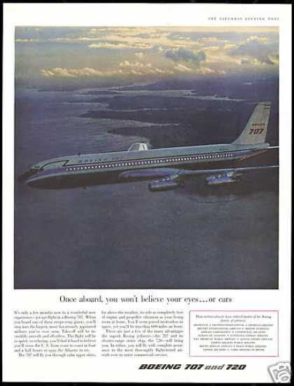 Boeing 707 Airplane Plane Photo Vintage (1958)