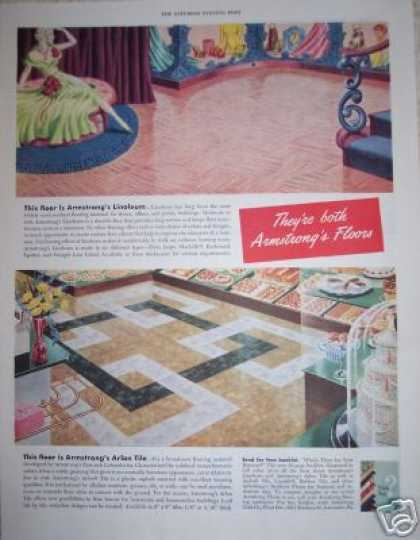 Armstong Tile Floor Pink Retro Decor (1949)