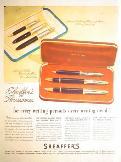 Sheaffer's Threesomes Pen and Pencil Sets (1947)
