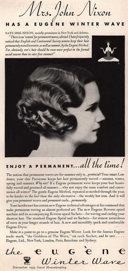 "Eugene, Ltd.'s Eugene ""Winter Wave"" – Mrs. John Nixon has a Eugene Winter Wave (1933)"