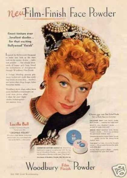 Woodbury Face Powder Ad Lucille Ball (1945)