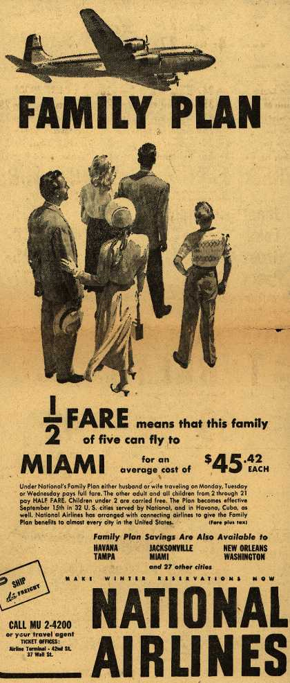 National Airline's Family air fare plans – Family Plan (1949)