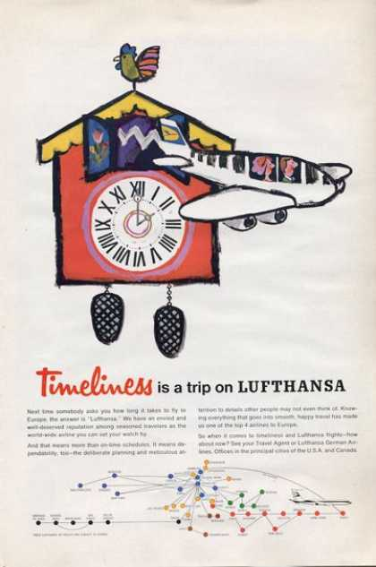 Lufthansa Airlines Cuck Koo Clock Art (1965)