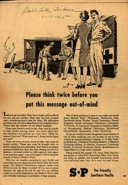 Southern Pacific's Medical WAC – Please think twice before you put this message out-of-mind (1945)
