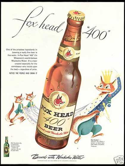 Fox Head 400 Beer Bottle Waukesha Ale Water (1948)