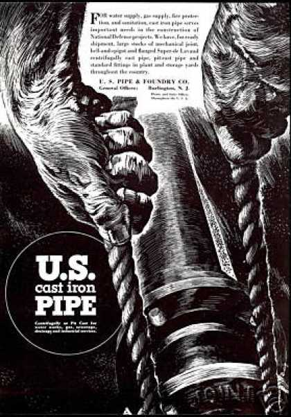 U.S Cast Iron Pipe Install Art Foundry Co (1940)