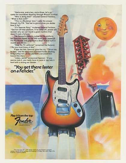 Fender Mustang Guitar Rocket art (1975)