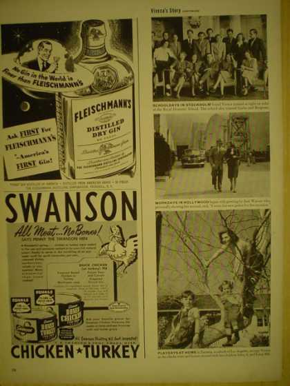 Swanson Chicken and Turkey AND Fleischmanns Distilled Dry Gin (1949)