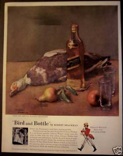 Johnnie Walker Bird and Bottle Brackman Art (1956)