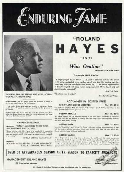 Roland Hayes Photo Tenor Antique Booking (1949)