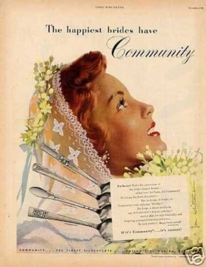 Community Silverplate Ad Whitcomb Art (1948)