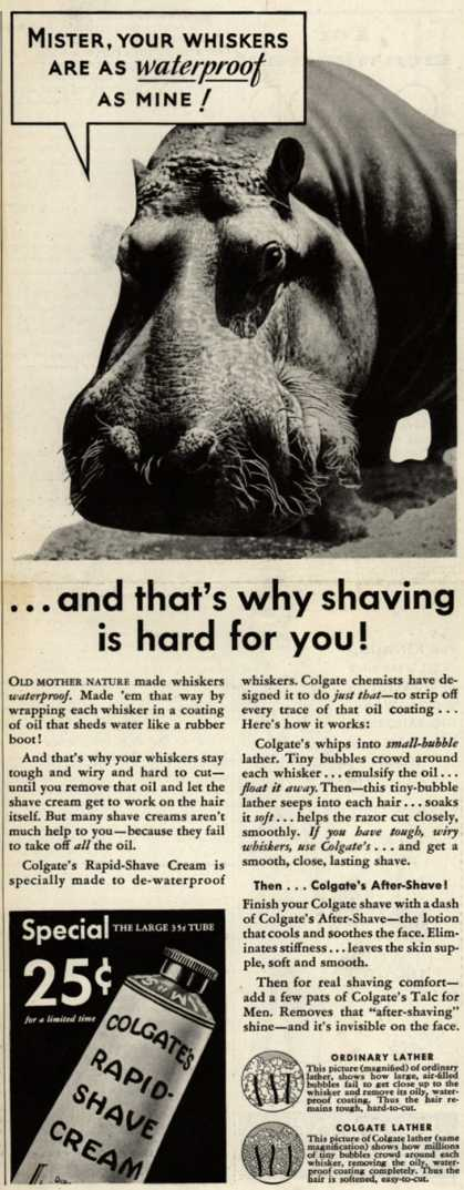 Colgate & Company's Colgate's Rapid-Shave Cream – Mister, Your Whiskers Are As Waterproof As Mine (1933)