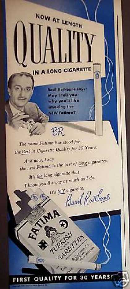 Basil Rathbone Fatima Turkish Cigarettes (1949)